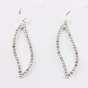 Jewelry - Pave Leaf Hoop Dangling Earrings